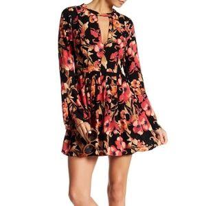 NWOT Free People Boho Red Black Tegan Floral Dress